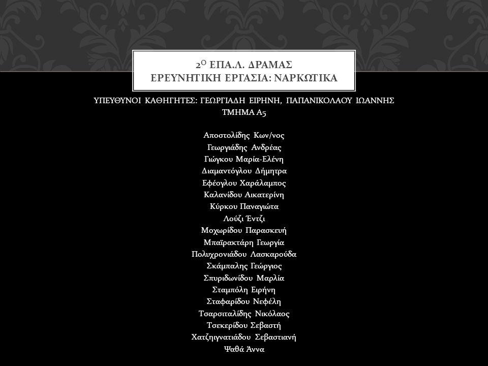 ΥΠΕΥΘΥΝΟΙ ΚΑΘΗΓΗΤΕΣ : ΓΕΩΡΓΙΑΔΗ ΕΙΡΗΝΗ, ΠΑΠΑΝΙΚΟΛΑΟΥ ΙΩΑΝΝΗΣ ΤΜΗΜΑ Α 5 Αποστολίδης Κων / νος Γεωργιάδης Ανδρέας Γιώγκου Μαρία - Ελένη Διαμαντόγλου Δήμ