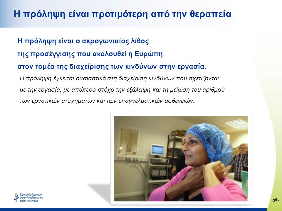 ‹#› www.healthy-workplaces.eu Η πρόληψη είναι προτιμότερη από την θεραπεία Η πρόληψη είναι ο ακρογωνιαίος λίθος της προσέγγισης που ακολουθεί η Ευρώπη στον τομέα της διαχείρισης των κινδύνων στην εργασία.