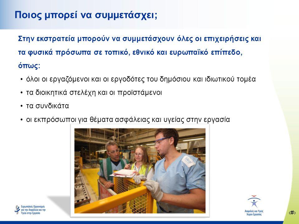 ‹#› www.healthy-workplaces.eu Ποιος μπορεί να συμμετάσχει; Στην εκστρατεία μπορούν να συμμετάσχουν όλες οι επιχειρήσεις και τα φυσικά πρόσωπα σε τοπικό, εθνικό και ευρωπαϊκό επίπεδο, όπως: •όλοι οι εργαζόμενοι και οι εργοδότες του δημόσιου και ιδιωτικού τομέα •τα διοικητικά στελέχη και οι προϊστάμενοι •τα συνδικάτα •οι εκπρόσωποι για θέματα ασφάλειας και υγείας στην εργασία