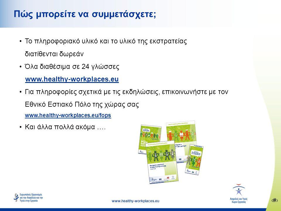 ‹#› www.healthy-workplaces.eu Πώς μπορείτε να συμμετάσχετε; •Το πληροφοριακό υλικό και το υλικό της εκστρατείας διατίθενται δωρεάν •Όλα διαθέσιμα σε 24 γλώσσες www.healthy-workplaces.eu •Για πληροφορίες σχετικά με τις εκδηλώσεις, επικοινωνήστε με τον Εθνικό Εστιακό Πόλο της χώρας σας www.healthy-workplaces.eu/fops •Και άλλα πολλά ακόμα ….