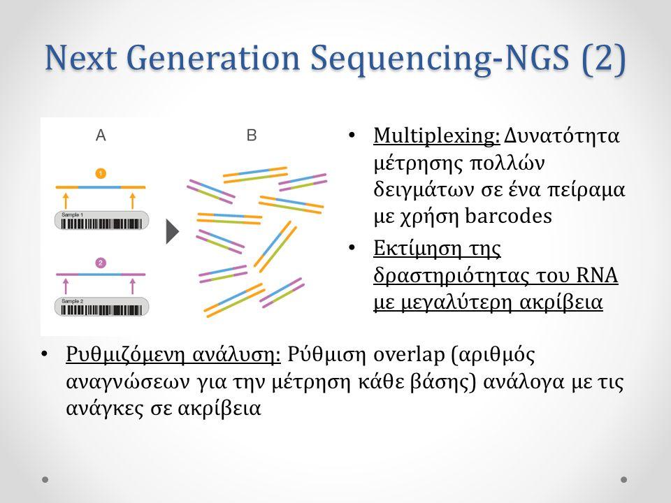 Next Generation Sequencing-NGS (2) • Multiplexing: Δυνατότητα μέτρησης πολλών δειγμάτων σε ένα πείραμα με χρήση barcodes • Εκτίμηση της δραστηριότητας