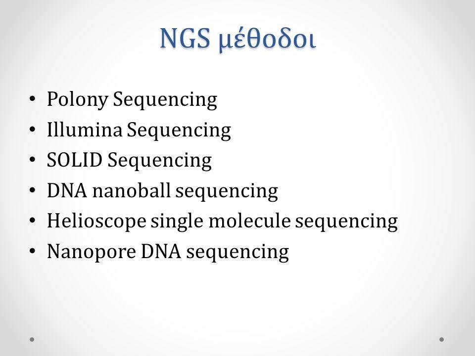 NGS μέθοδοι • Polony Sequencing • Illumina Sequencing • SOLID Sequencing • DNA nanoball sequencing • Helioscope single molecule sequencing • Nanopore