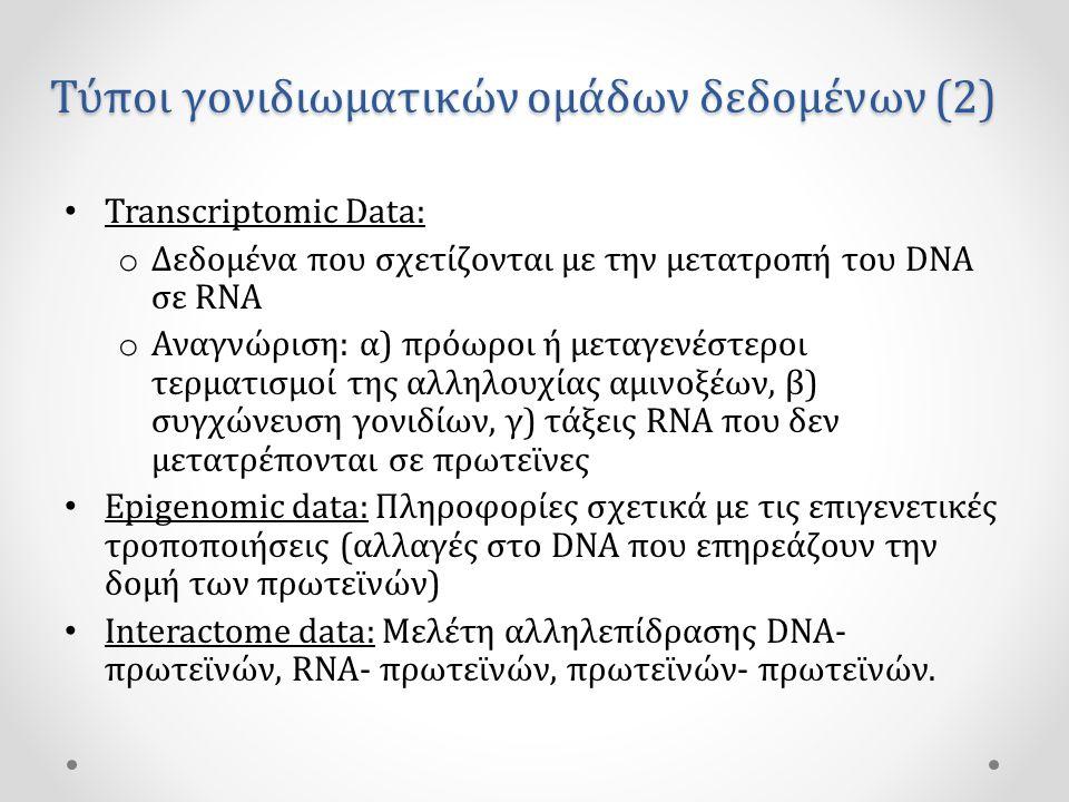 Τύποι γονιδιωματικών ομάδων δεδομένων (2) • Transcriptomic Data: o Δεδομένα που σχετίζονται με την μετατροπή του DNA σε RNA o Αναγνώριση: α) πρόωροι ή μεταγενέστεροι τερματισμοί της αλληλουχίας αμινοξέων, β) συγχώνευση γονιδίων, γ) τάξεις RNA που δεν μετατρέπονται σε πρωτεϊνες • Epigenomic data: Πληροφορίες σχετικά με τις επιγενετικές τροποποιήσεις (αλλαγές στο DNA που επηρεάζουν την δομή των πρωτεϊνών) • Interactome data: Μελέτη αλληλεπίδρασης DNA- πρωτεϊνών, RNA- πρωτεϊνών, πρωτεϊνών- πρωτεϊνών.