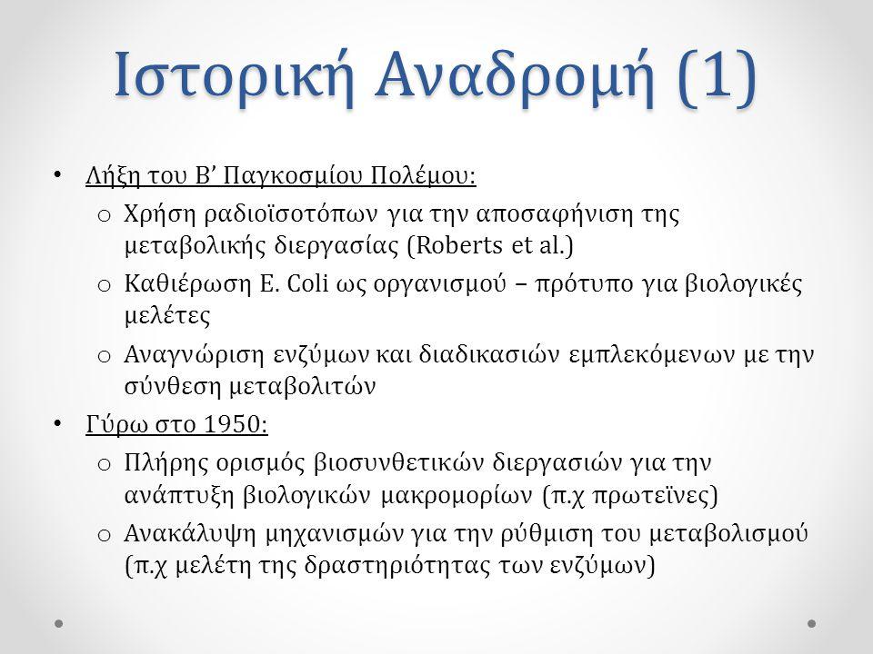 Ιστορική Αναδρομή (2) • 1955: o Περιγραφή της δομής της έλικας του DNA από τους Watson και Crick o Ανακάλυψη μηχανισμών αντιγραφής του DNA και σύνθεσης πρωτεϊνών • 1961: o Θεμελίωση βασικών μηχανισμών γονιδιακής έκφρασης (Jacob – Monod) o Ανακάλυψη ενζύμων ικανών να κόβουν και να συνδέουν DNA (Nathans και Smith)