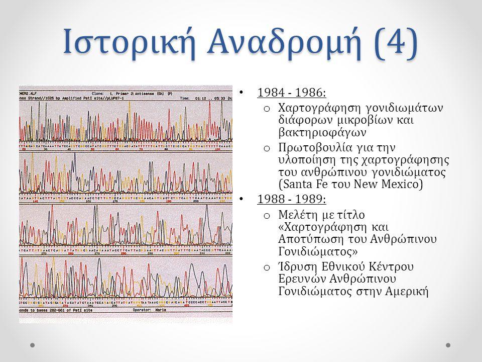 Ιστορική Αναδρομή (4) • 1984 - 1986: o Χαρτογράφηση γονιδιωμάτων διάφορων μικροβίων και βακτηριοφάγων o Πρωτοβουλία για την υλοποίηση της χαρτογράφησης του ανθρώπινου γονιδιώματος (Santa Fe του New Mexico) • 1988 - 1989: o Μελέτη με τίτλο «Χαρτογράφηση και Αποτύπωση του Ανθρώπινου Γονιδιώματος» o Ίδρυση Εθνικού Κέντρου Ερευνών Ανθρώπινου Γονιδιώματος στην Αμερική