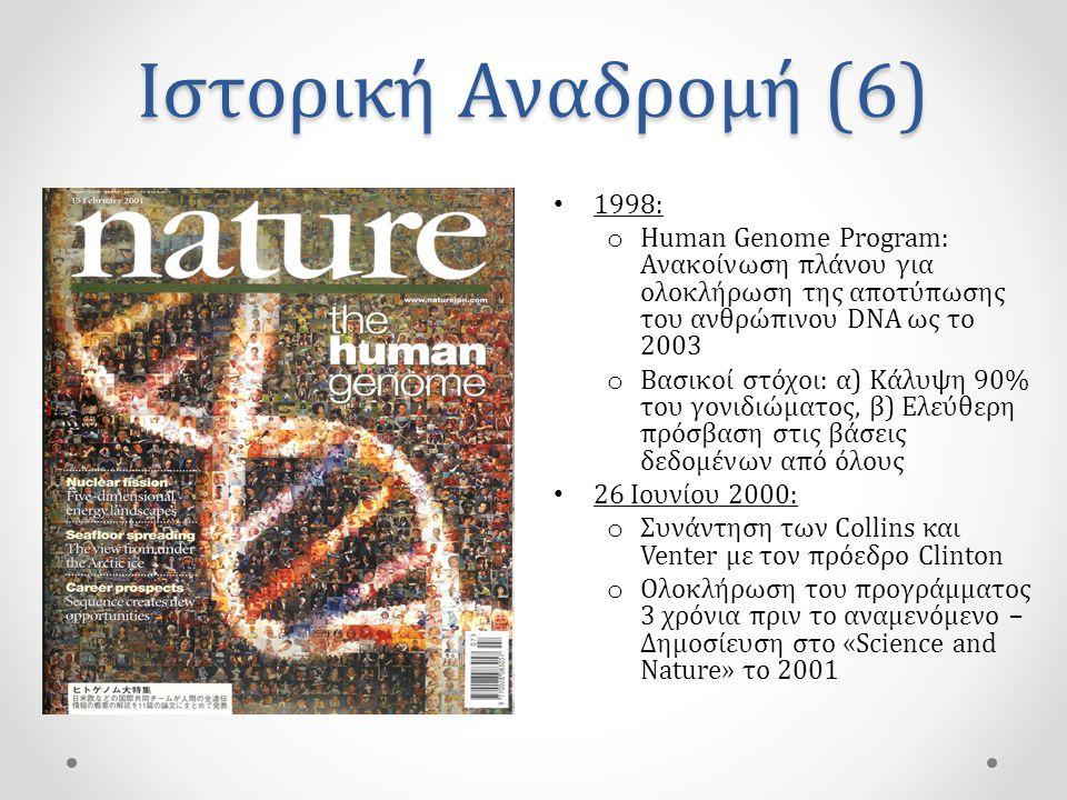 Ιστορική Αναδρομή (6) • 1998: o Human Genome Program: Ανακοίνωση πλάνου για ολοκλήρωση της αποτύπωσης του ανθρώπινου DNA ως το 2003 o Βασικοί στόχοι: α) Κάλυψη 90% του γονιδιώματος, β) Ελεύθερη πρόσβαση στις βάσεις δεδομένων από όλους • 26 Ιουνίου 2000: o Συνάντηση των Collins και Venter με τον πρόεδρο Clinton o Ολοκλήρωση του προγράμματος 3 χρόνια πριν το αναμενόμενο – Δημοσίευση στο «Science and Nature» το 2001