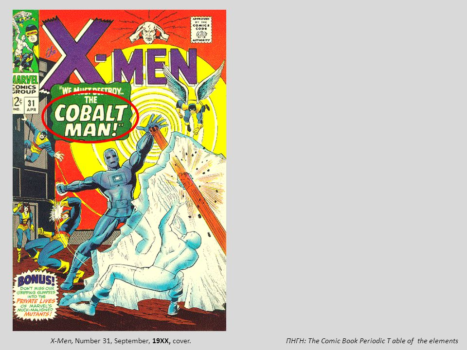 ΠΗΓΗ: Τhe Comic Book Periodic T able of the elementsX-Men, Number 31, September, 19XX, cover.