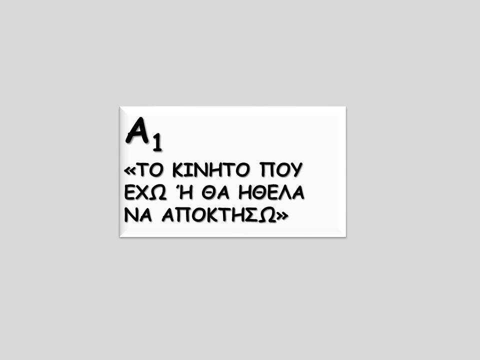 Α 1 «ΤΟ ΚΙΝΗΤΟ ΠΟΥ ΕΧΩ Ή ΘΑ ΗΘΕΛΑ ΝΑ ΑΠΟΚΤΗΣΩ» Α 1 «ΤΟ ΚΙΝΗΤΟ ΠΟΥ ΕΧΩ Ή ΘΑ ΗΘΕΛΑ ΝΑ ΑΠΟΚΤΗΣΩ»