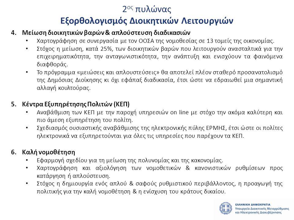 2 ος πυλώνας Εξορθολογισμός Διοικητικών Λειτουργιών 4.Μείωση διοικητικών βαρών & απλούστευση διαδικασιών • Χαρτογράφηση σε συνεργασία με τον ΟΟΣΑ της νομοθεσίας σε 13 τομείς της οικονομίας.
