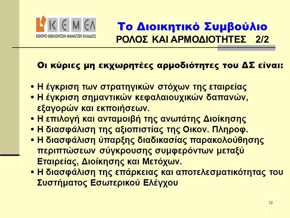 Το Διοικητικό Συμβούλιο ΡΟΛΟΣ ΚΑΙ ΑΡΜΟΔΙΟΤΗΤΕΣ 2/2 12 Οι κύριες μη εκχωρητέες αρμοδιότητες του ΔΣ είναι: • Η έγκριση των στρατηγικών στόχων της εταιρε