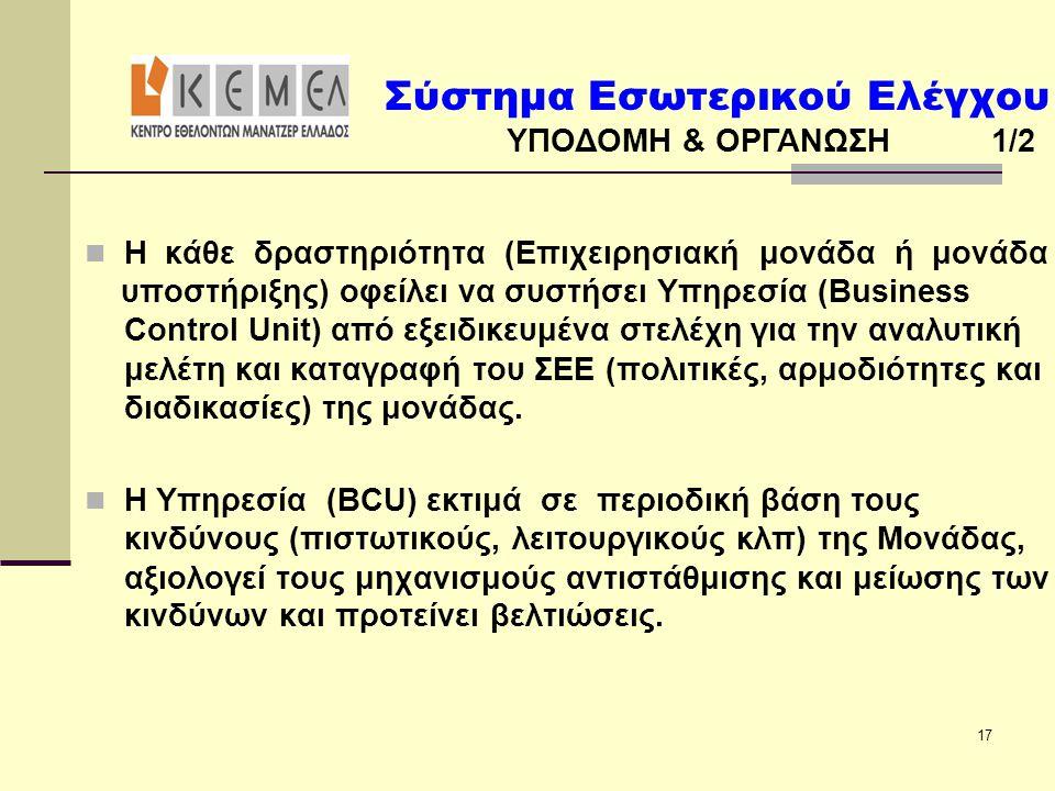 Σύστημα Εσωτερικού Ελέγχου ΥΠΟΔΟΜΗ & ΟΡΓΑΝΩΣΗ 1/2 17  Η κάθε δραστηριότητα (Επιχειρησιακή μονάδα ή μονάδα υποστήριξης) οφείλει να συστήσει Υπηρεσία (Business Control Unit) από εξειδικευμένα στελέχη για την αναλυτική μελέτη και καταγραφή του ΣΕΕ (πολιτικές, αρμοδιότητες και διαδικασίες) της μονάδας.