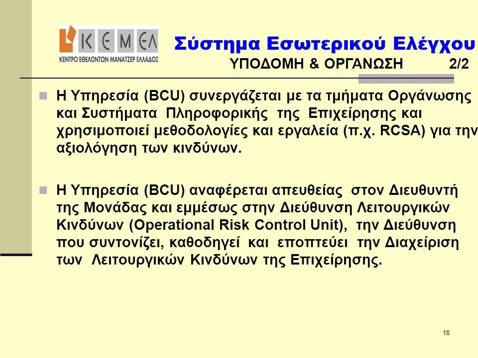 Σύστημα Εσωτερικού Ελέγχου ΥΠΟΔΟΜΗ & ΟΡΓΑΝΩΣΗ 2/2 18  Η Υπηρεσία (BCU) συνεργάζεται με τα τμήματα Οργάνωσης και Συστήματα Πληροφορικής της Επιχείρηση