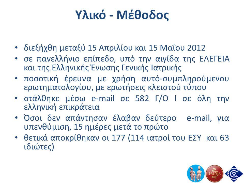 Υλικό - Μέθοδος • διεξήχθη μεταξύ 15 Απριλίου και 15 Μαΐου 2012 • σε πανελλήνιο επίπεδο, υπό την αιγίδα της ΕΛΕΓΕΙΑ και της Ελληνικής Ένωσης Γενικής Ι