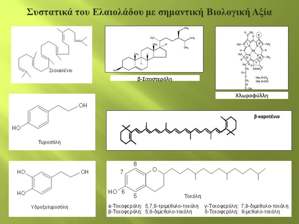 β-Σιτοστερόλη Χλωροφύλλη Συστατικά του Ελαιολάδου με σημαντική Βιολογική Αξία