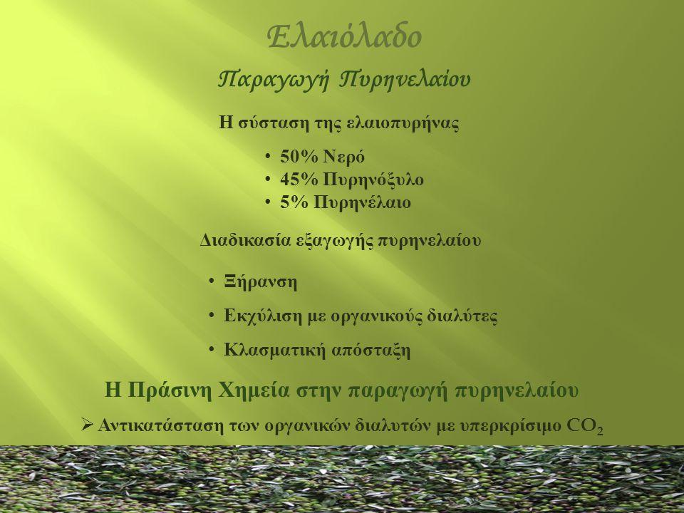 Ελαιόλαδο Η σύσταση της ελαιοπυρήνας • 50% Νερό • 45% Πυρηνόξυλο • 5% Πυρηνέλαιο Διαδικασία εξαγωγής πυρηνελαίου • Ξήρανση • Εκχύλιση με οργανικούς δι