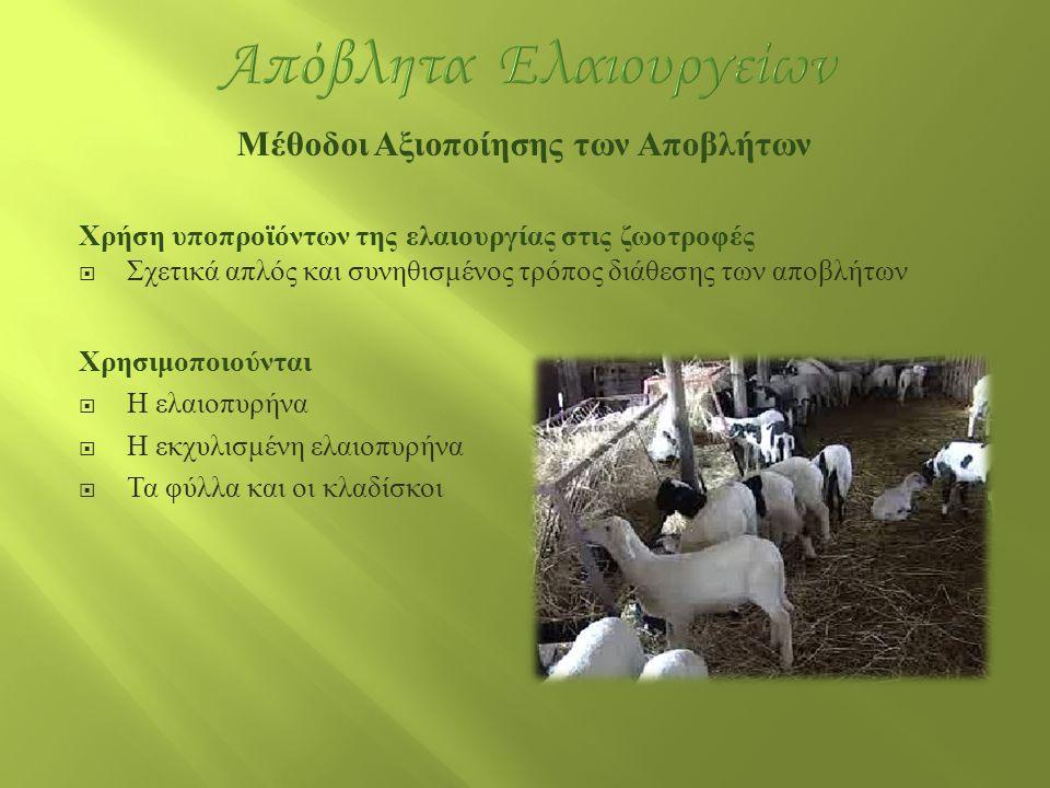 Μέθοδοι Αξιοποίησης των Αποβλήτων Χρήση υποπροϊόντων της ελαιουργίας στις ζωοτροφές  Σχετικά απλός και συνηθισμένος τρόπος διάθεσης των αποβλήτων Χρη