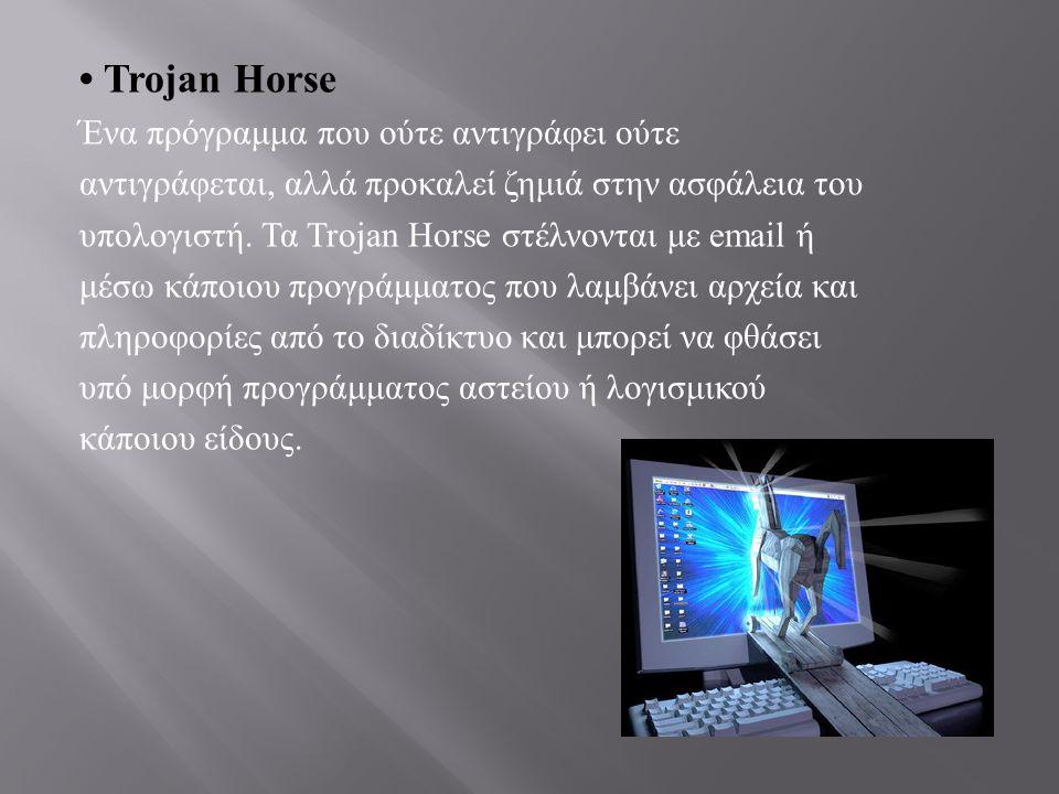 • Trojan Horse Ένα πρόγραμμα που ούτε αντιγράφει ούτε αντιγράφεται, αλλά προκαλεί ζημιά στην ασφάλεια του υπολογιστή. Τα Trojan Horse στέλνονται με em