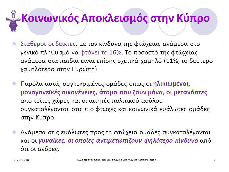 Κοινωνικός Αποκλεισμός στην Κύπρο  Σταθεροί οι δείκτες, με τον κίνδυνο της φτώχειας ανάμεσα στο γενικό πληθυσμό να φτάνει το 16%. Το ποσοστό της φτώχ