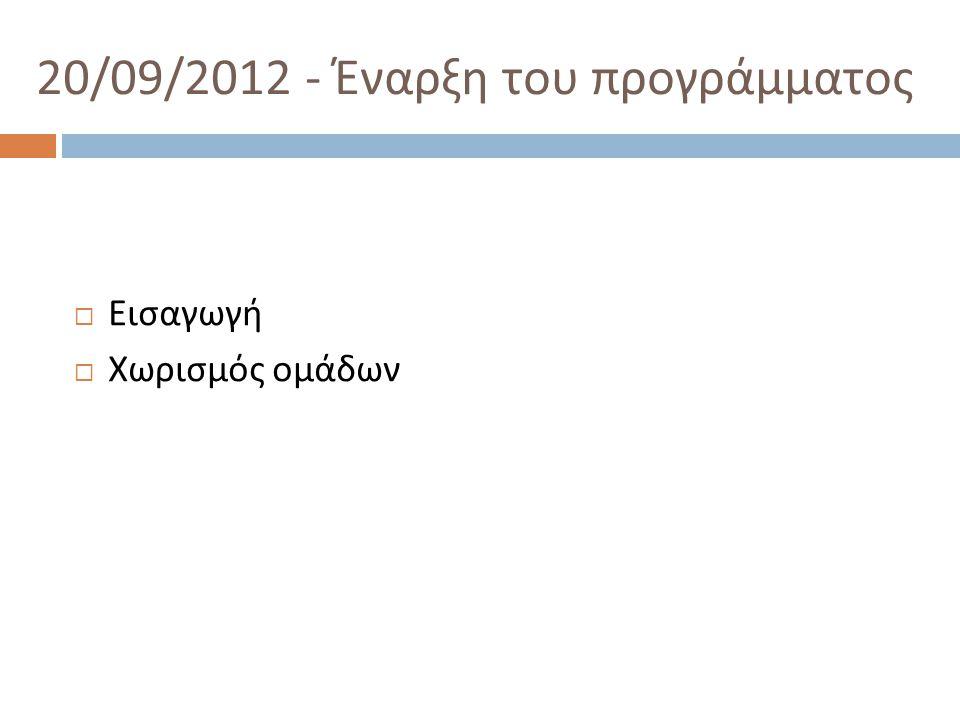 20/09/2012 - Έναρξη του προγράμματος  Εισαγωγή  Χωρισμός ομάδων