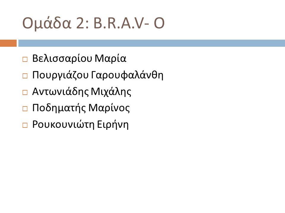 Ομάδα 2 : B.R.A.V- O  Βελισσαρίου Μαρία  Πουργιάζου Γαρουφαλάνθη  Αντωνιάδης Μιχάλης  Ποδηματής Μαρίνος  Ρουκουνιώτη Ειρήνη