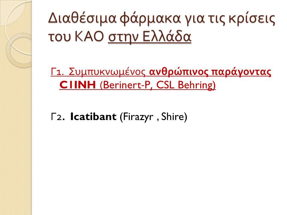 Διαθέσιμα φάρμακα για τις κρίσεις του ΚΑΟ στην Ελλάδα Γ 1. Συμπυκνωμένος ανθρώπινος παράγοντας C1INH (Berinert-P, CSL Behring) Γ 2. Icatibant (Firazyr