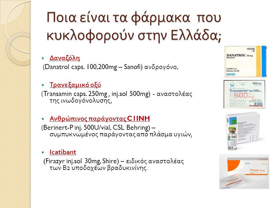 Ποια είναι τα φάρμακα που κυκλοφορούν στην Ελλάδα ;  Δαναζόλη (Danatrol caps. 100,200mg – Sanofi) ανδρογόνο,  Τρανεξαμικό οξύ (Transamin caps. 250mg
