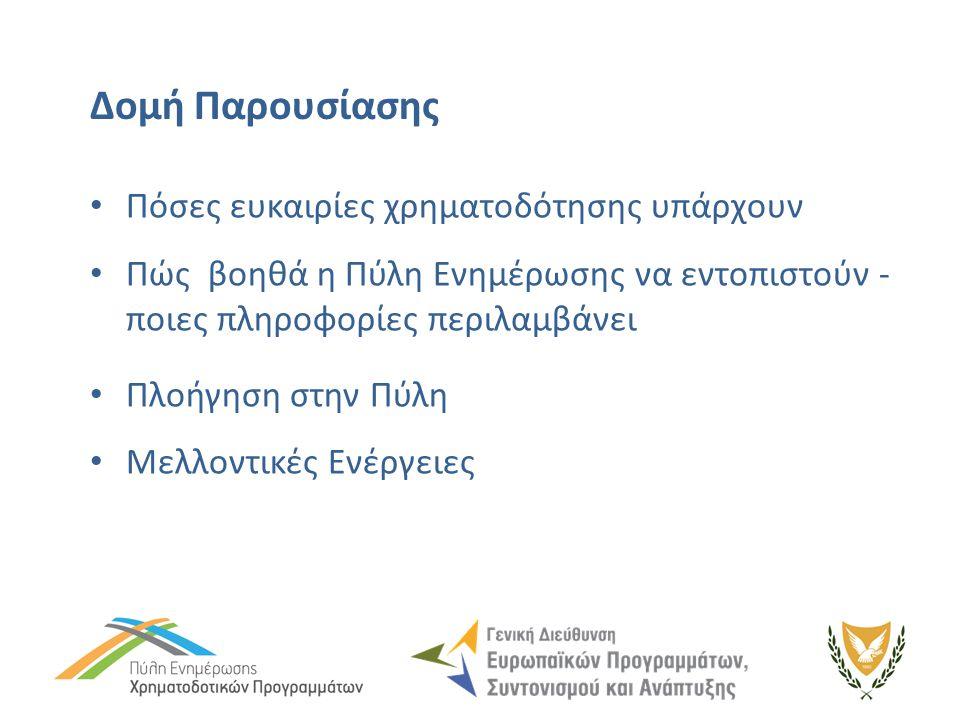 Προσκλήσεις καταχωρημένες στην Πύλη (21/5/2014) - συνέχεια ΑνοικτέςΜελλοντικές Συγχρηματοδοτούμενα Προγράμματα ΕΕ47 ΔΙΑΡΘΡΩΤΙΚΑ ΤΑΜΕΙΑ ΚΑΙ ΤΑΜΕΙΟ ΣΥΝΟΧΗΣ22 ΑΓΡΟΤΙΚΗ ΑΝΑΠΤΥΞΗ 3 ΘΑΛΑΣΣΙΑ ΠΟΛΙΤΙΚΗ ΚΑΙ ΑΛΙΕΙΑ1 ΤΑΜΕΙΑ ΑΛΛΗΛΕΓΓΥΗΣ (2007-2013)12 Εθνικά Σχέδια Κινήτρων259 ΥΠ.