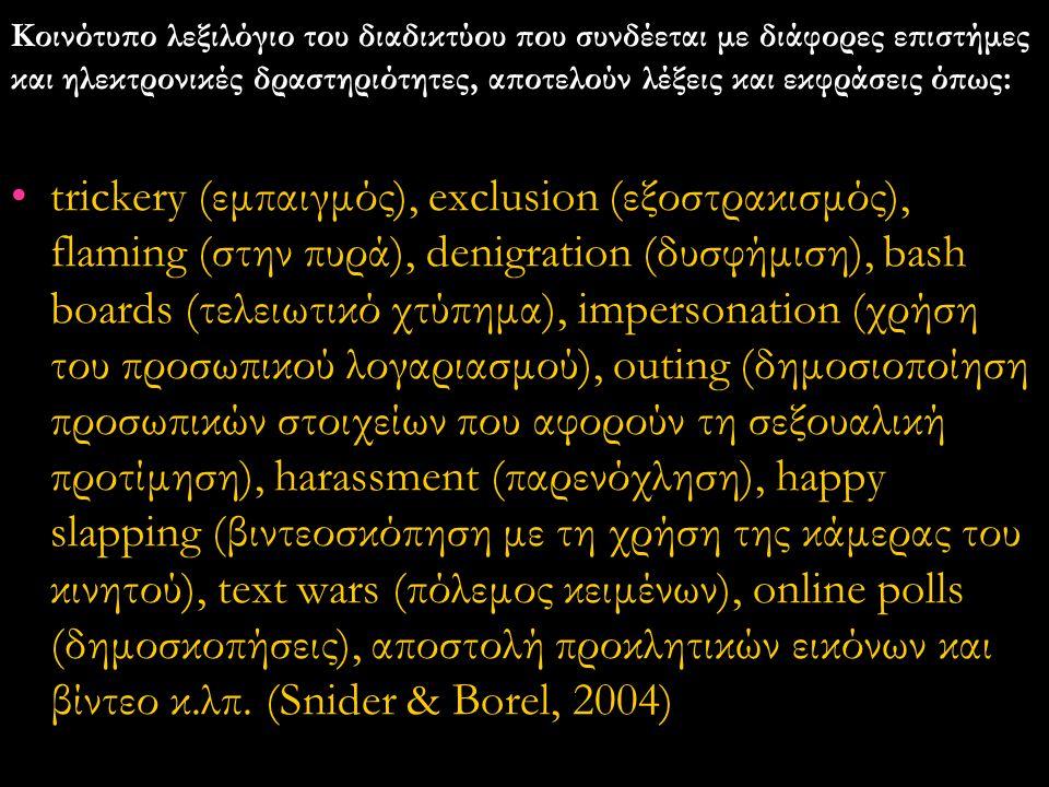 Κοινότυπο λεξιλόγιο του διαδικτύου που συνδέεται με διάφορες επιστήμες και ηλεκτρονικές δραστηριότητες, αποτελούν λέξεις και εκφράσεις όπως: •trickery (εμπαιγμός), exclusion (εξοστρακισμός), flaming (στην πυρά), denigration (δυσφήμιση), bash boards (τελειωτικό χτύπημα), impersonation (χρήση του προσωπικού λογαριασμού), outing (δημοσιοποίηση προσωπικών στοιχείων που αφορούν τη σεξουαλική προτίμηση), harassment (παρενόχληση), happy slapping (βιντεοσκόπηση με τη χρήση της κάμερας του κινητού), text wars (πόλεμος κειμένων), online polls (δημοσκοπήσεις), αποστολή προκλητικών εικόνων και βίντεο κ.λπ.