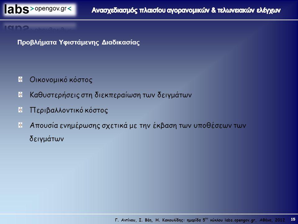 15 Γ. Αντίνου, Ι. Βέη, Η. Κακουλίδης: ημερίδα 5 ου κύκλου labs.opengov.gr, Αθήνα, 2012 Προβλήματα Υφιστάμενης Διαδικασίας Οικονομικό κόστος Καθυστερήσ