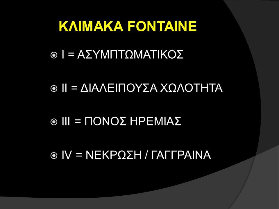 ΚΛΙΜΑΚΑ FONTAINE  Ι = ΑΣΥΜΠΤΩΜΑΤΙΚΟΣ  ΙΙ = ΔΙΑΛΕΙΠΟΥΣΑ ΧΩΛΟΤΗΤΑ  ΙΙΙ = ΠΟΝΟΣ ΗΡΕΜΙΑΣ  ΙV = ΝΕΚΡΩΣΗ / ΓΑΓΓΡΑΙΝΑ