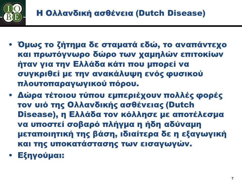 Η Ολλανδική ασθένεια (Dutch Disease) •Όμως το ζήτημα δε σταματά εδώ, το αναπάντεχο και πρωτόγνωρο δώρο των χαμηλών επιτοκίων ήταν για την Ελλάδα κάτι