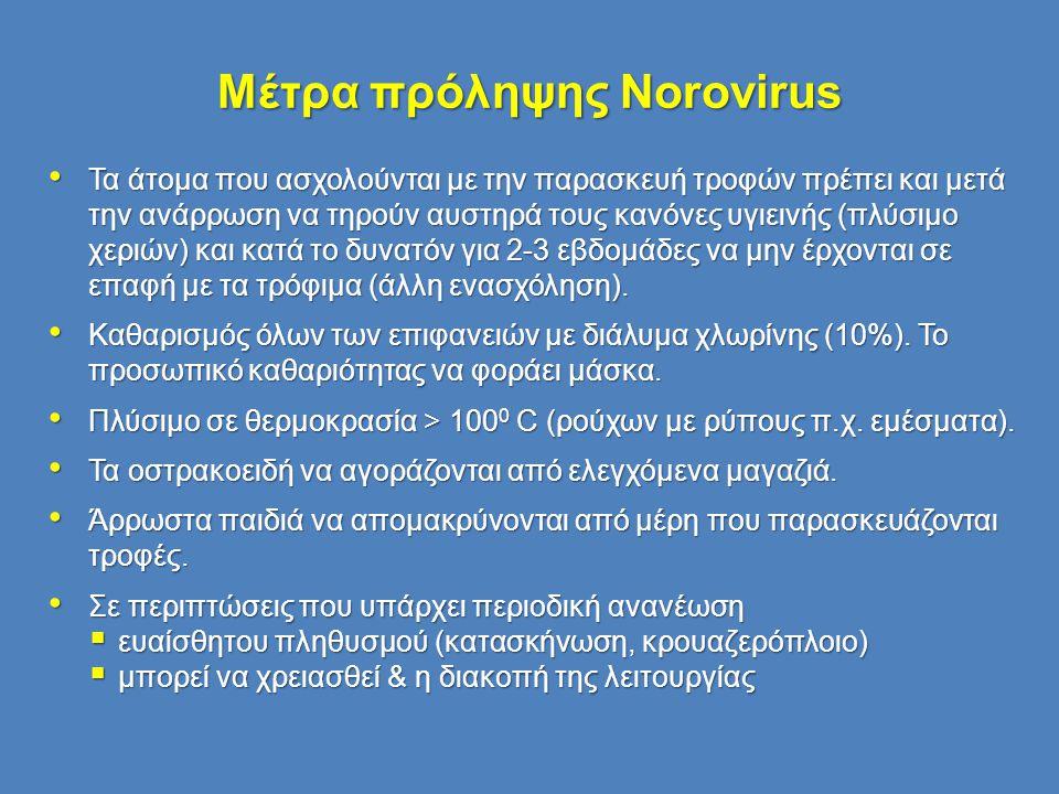 Μέτρα πρόληψης Norovirus • Τα άτομα που ασχολούνται με την παρασκευή τροφών πρέπει και μετά την ανάρρωση να τηρούν αυστηρά τους κανόνες υγιεινής (πλύσ