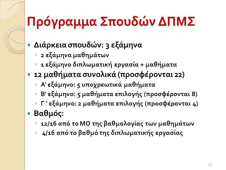  Διάρκεια σπουδών : 3 εξάμηνα ◦ 2 εξάμηνα μαθημάτων ◦ 1 εξάμηνο διπλωματική εργασία + μαθήματα  12 μαθήματα συνολικά ( προσφέρονται 22) ◦ Α εξάμηνο : 5 υποχρεωτικά μαθήματα ◦ Β εξάμηνο : 5 μαθήματα επιλογής ( προσφέρονται 8) ◦ Γ εξάμηνο : 2 μαθήματα επιλογής ( προσφέρονται 4)  Βαθμός : ◦ 12/16 από το ΜΟ της βαθμολογίας των μαθημάτων ◦ 4/16 από το βαθμό της διπλωματικής εργασίας 15 Πρόγραμμα Σπουδών ΔΠΜΣ