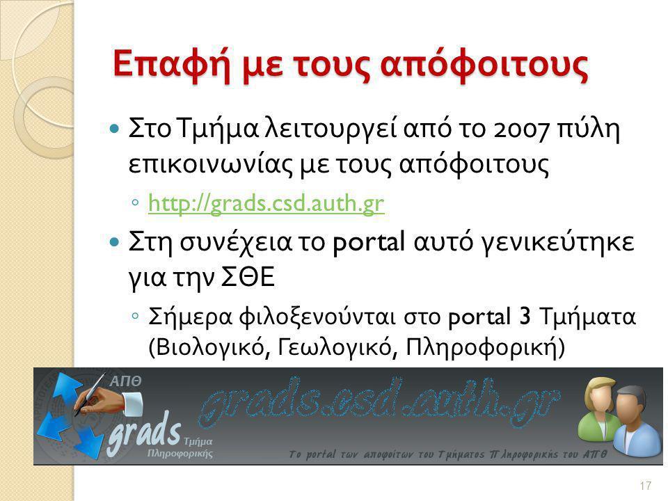 Επαφή με τους απόφοιτους  Στο Τμήμα λειτουργεί από το 2007 πύλη επικοινωνίας με τους απόφοιτους ◦ http://grads.csd.auth.gr http://grads.csd.auth.gr  Στη συνέχεια το portal αυτό γενικεύτηκε για την ΣΘΕ ◦ Σήμερα φιλοξενούνται στο portal 3 Τμήματα ( Βιολογικό, Γεωλογικό, Πληροφορική ) 17
