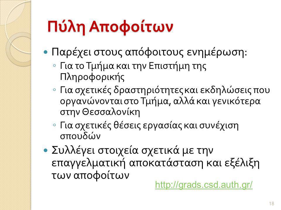 Πύλη Αποφοίτων  Παρέχει στους απόφοιτους ενημέρωση : ◦ Για το Τμήμα και την Επιστήμη της Πληροφορικής ◦ Για σχετικές δραστηριότητες και εκδηλώσεις που οργανώνονται στο Τμήμα, αλλά και γενικότερα στην Θεσσαλονίκη ◦ Για σχετικές θέσεις εργασίας και συνέχιση σπουδών  Συλλέγει στοιχεία σχετικά με την επαγγελματική αποκατάσταση και εξέλιξη των αποφοίτων 18 http://grads.csd.auth.gr/