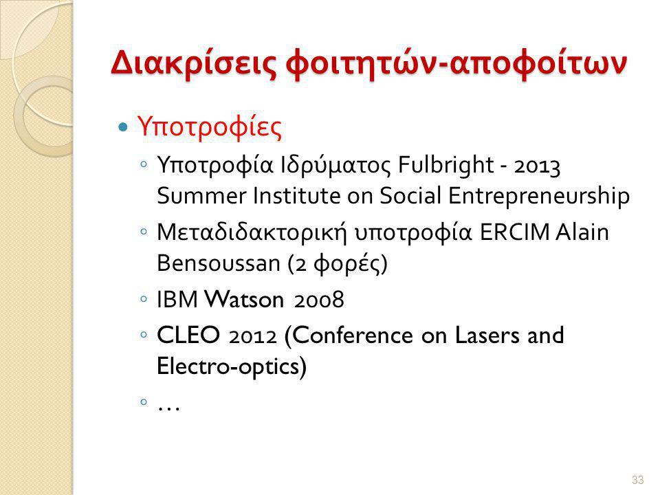 Διακρίσεις φοιτητών - αποφοίτων  Υποτροφίες ◦ Υποτροφία Ιδρύματος Fulbright - 2013 Summer Institute on Social Entrepreneurship ◦ Μεταδιδακτορική υποτροφία ERCIM Alain Bensoussan (2 φορές ) ◦ ΙΒΜ Watson 2008 ◦ CLEO 2012 (Conference on Lasers and Electro-optics) ◦ … 33