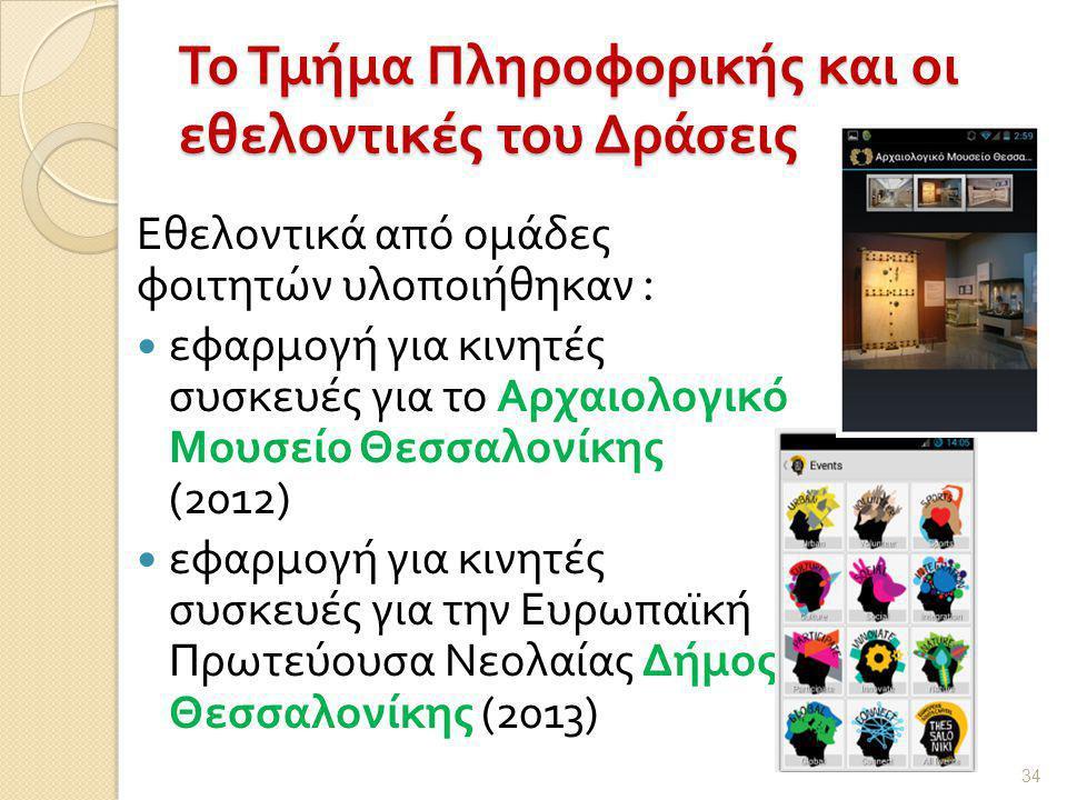 Το Τμήμα Πληροφορικής και οι εθελοντικές του Δράσεις Εθελοντικά από ομάδες φοιτητών υλοποιήθηκαν :  εφαρμογή για κινητές συσκευές για το Αρχαιολογικό Μουσείο Θεσσαλονίκης (2012)  εφαρμογή για κινητές συσκευές για την Ευρωπαϊκή Πρωτεύουσα Νεολαίας Δήμος Θεσσαλονίκης (2013) 34