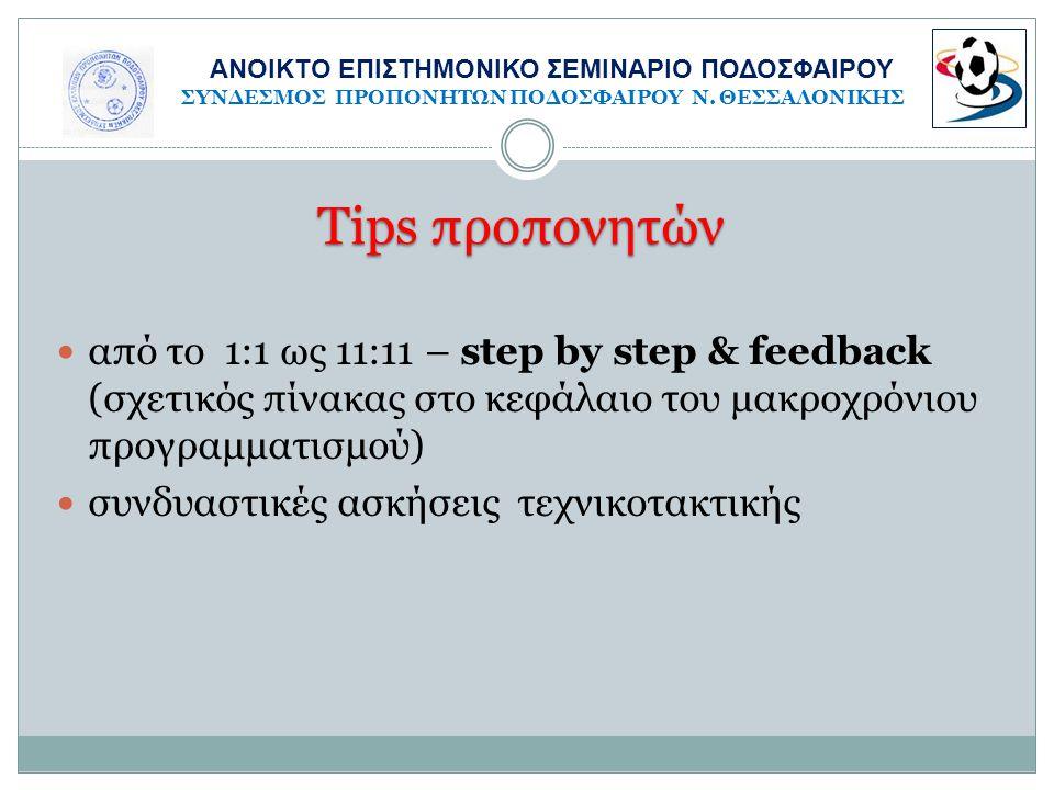 Tips προπονητών  από το 1:1 ως 11:11 – step by step & feedback (σχετικός πίνακας στο κεφάλαιο του μακροχρόνιου προγραμματισμού)  συνδυαστικές ασκήσε