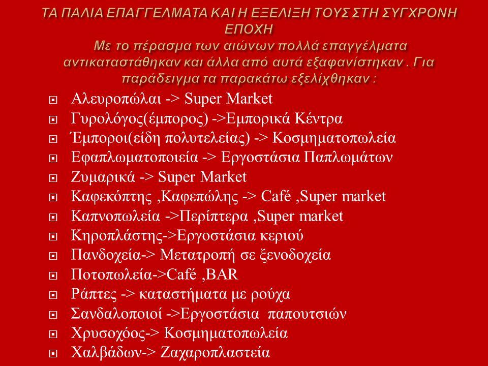  Αλευροπώλαι -> Super Market  Γυρολόγος ( έμπορος ) -> Εμπορικά Κέντρα  Έμποροι ( είδη πολυτελείας ) -> Κοσμηματοπωλεία  Εφαπλωματοποιεία -> Εργοσ
