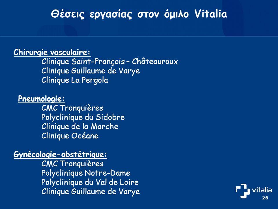 Θέσεις εργασίας στον όμιλο Vitalia Chirurgie vasculaire: Clinique Saint-François – Châteauroux Clinique Guillaume de Varye Clinique La Pergola Pneumologie: CMC Tronquières Polyclinique du Sidobre Clinique de la Marche Clinique Océane Gynécologie-obstétrique: CMC Tronquières Polyclinique Notre-Dame Polyclinique du Val de Loire Clinique Guillaume de Varye 26