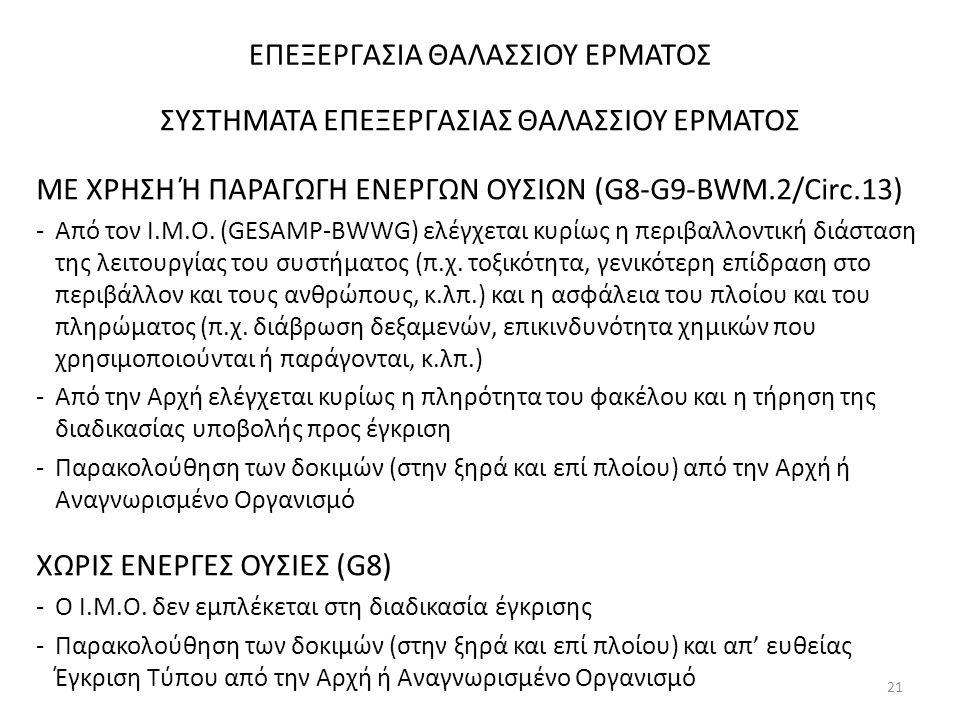 ΕΠΕΞΕΡΓΑΣΙΑ ΘΑΛΑΣΣΙΟΥ ΕΡΜΑΤΟΣ ΣΥΣΤΗΜΑΤΑ ΕΠΕΞΕΡΓΑΣΙΑΣ ΘΑΛΑΣΣΙΟΥ ΕΡΜΑΤΟΣ ΜΕ ΧΡΗΣΗ Ή ΠΑΡΑΓΩΓΗ ΕΝΕΡΓΩΝ ΟΥΣΙΩΝ (G8-G9-BWM.2/Circ.13) -Από τον Ι.Μ.Ο. (GESAM