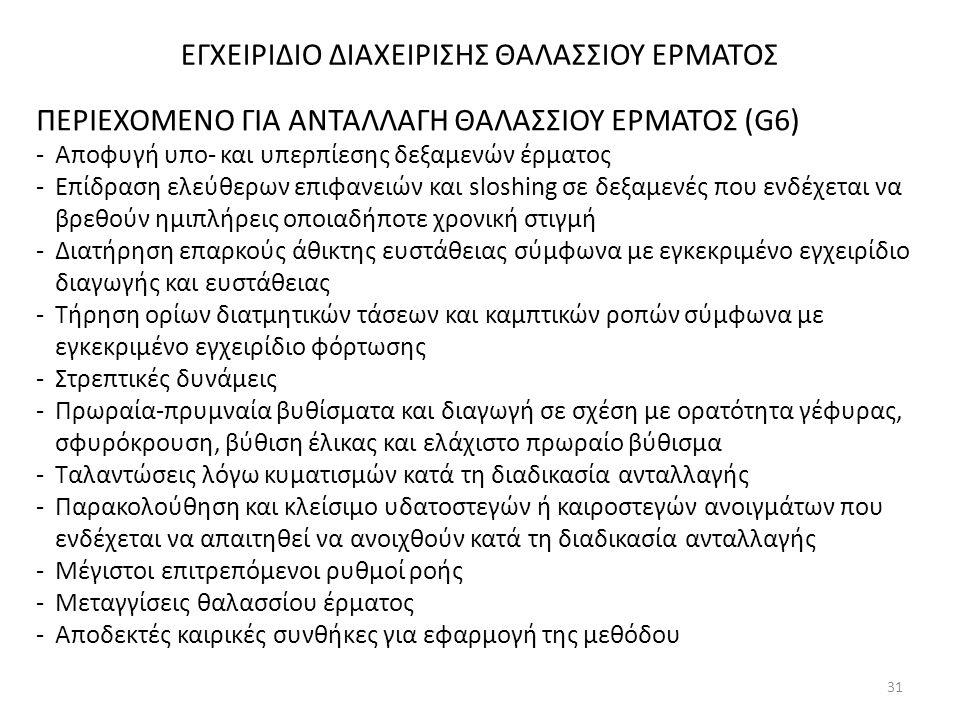 ΕΓΧΕΙΡΙΔΙΟ ΔΙΑΧΕΙΡΙΣΗΣ ΘΑΛΑΣΣΙΟΥ ΕΡΜΑΤΟΣ ΠΕΡΙΕΧΟΜΕΝΟ ΓΙΑ ΑΝΤΑΛΛΑΓΗ ΘΑΛΑΣΣΙΟΥ ΕΡΜΑΤΟΣ (G6) -Αποφυγή υπο- και υπερπίεσης δεξαμενών έρματος -Επίδραση ελε