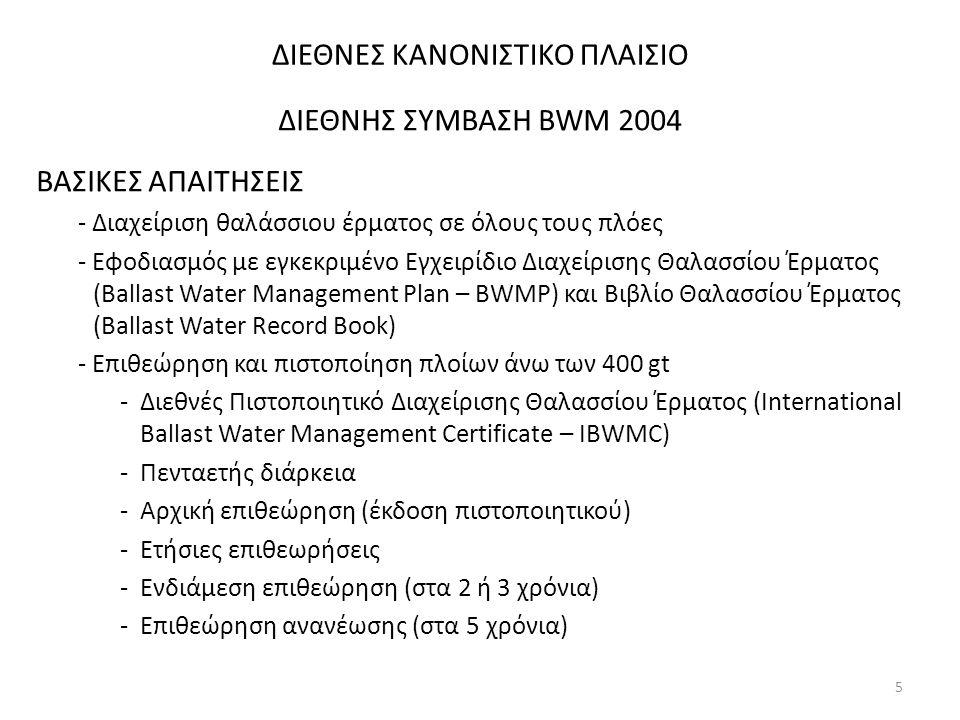 ΔΙΕΘΝΕΣ ΚΑΝΟΝΙΣΤΙΚΟ ΠΛΑΙΣΙΟ ΔΙΕΘΝΗΣ ΣΥΜΒΑΣΗ BWM 2004 ΒΑΣΙΚΕΣ ΑΠΑΙΤΗΣΕΙΣ - Διαχείριση θαλάσσιου έρματος σε όλους τους πλόες - Εφοδιασμός με εγκεκριμένο