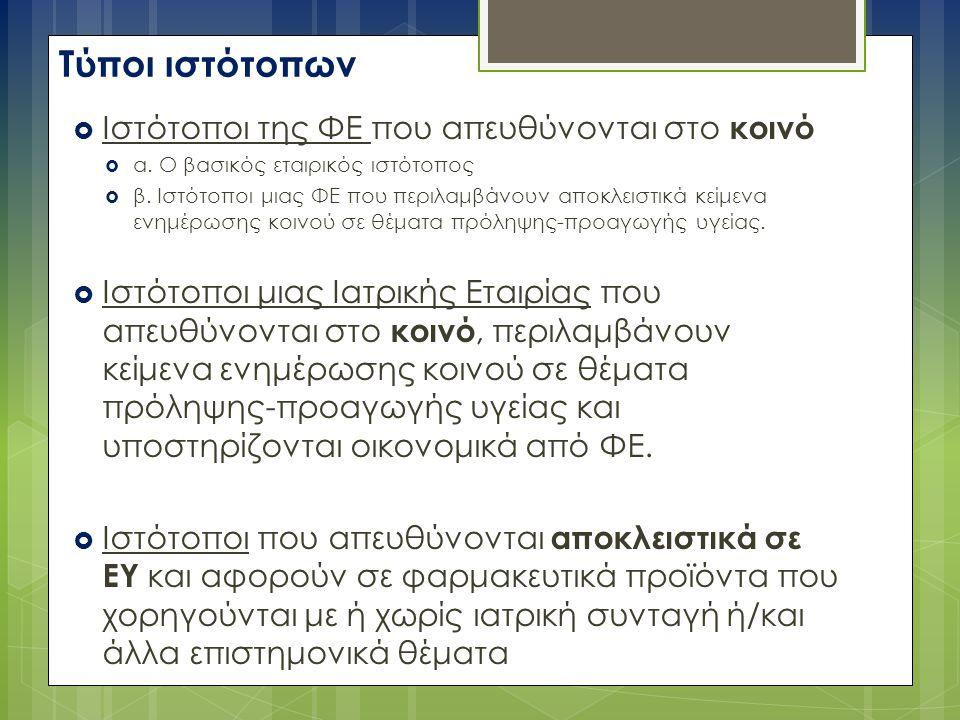 Τύποι ιστότοπων  Iστότοποι της ΦΕ που απευθύνονται στο κοινό  α.