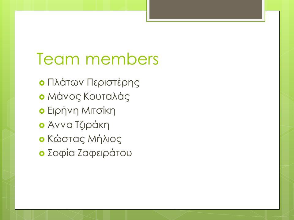 Team members  Πλάτων Περιστέρης  Μάνος Κουταλάς  Ειρήνη Μιτσίκη  Άννα Τζιράκη  Κώστας Μήλιος  Σοφία Ζαφειράτου