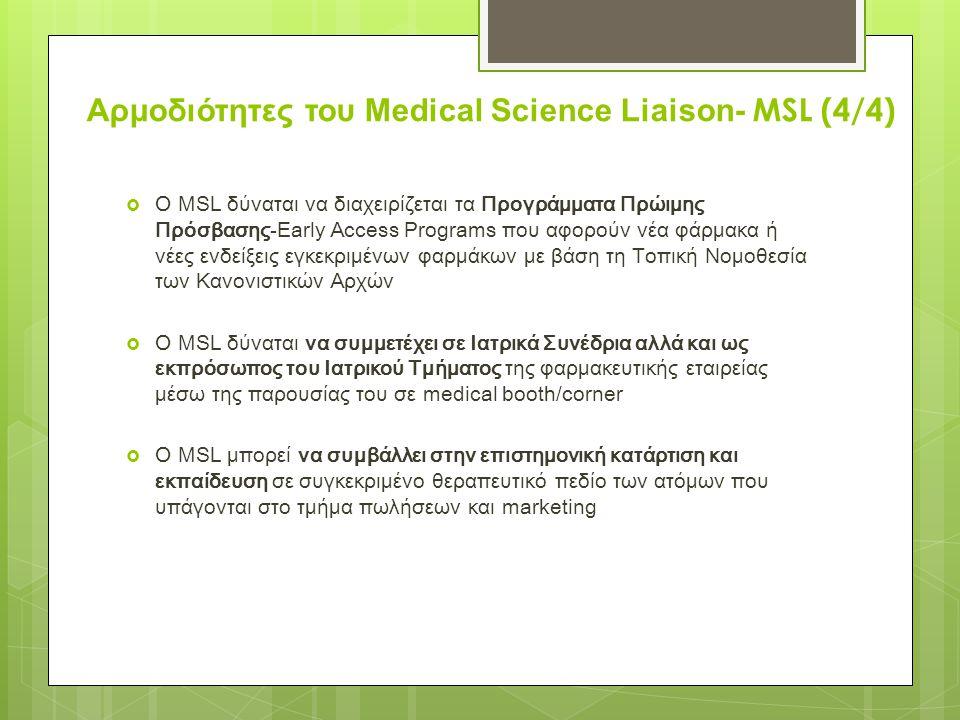  Ο MSL δύναται να διαχειρίζεται τα Προγράμματα Πρώιμης Πρόσβασης-Early Access Programs που αφορούν νέα φάρμακα ή νέες ενδείξεις εγκεκριμένων φαρμάκων με βάση τη Τοπική Νομοθεσία των Κανονιστικών Αρχών  Ο ΜSL δύναται να συμμετέχει σε Ιατρικά Συνέδρια αλλά και ως εκπρόσωπος του Ιατρικού Τμήματος της φαρμακευτικής εταιρείας μέσω της παρουσίας του σε medical booth/corner  Ο MSL μπορεί να συμβάλλει στην επιστημονική κατάρτιση και εκπαίδευση σε συγκεκριμένο θεραπευτικό πεδίο των ατόμων που υπάγονται στο τμήμα πωλήσεων και marketing Αρμοδιότητες του Medical Science Liaison- MSL (4/4)