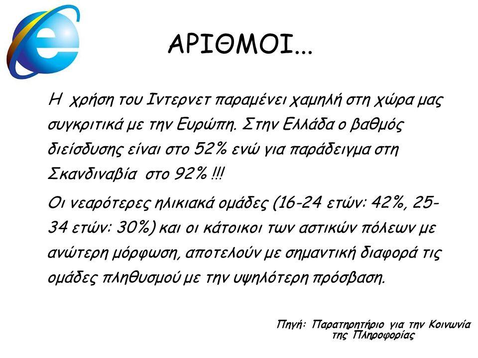 ΑΡΙΘΜΟΙ... H χρήση του Ιντερνετ παραμένει χαμηλή στη χώρα μας συγκριτικά με την Ευρώπη. Στην Ελλάδα ο βαθμός διείσδυσης είναι στο 52% ενώ για παράδειγ