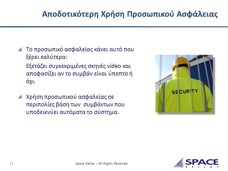 11 Space Hellas - All Rights Reserved Αποδοτικότερη Χρήση Προσωπικού Ασφάλειας Tο προσωπικό ασφαλείας κάνει αυτό που ξέρει καλύτερα: Εξετάζει συγκεκρι