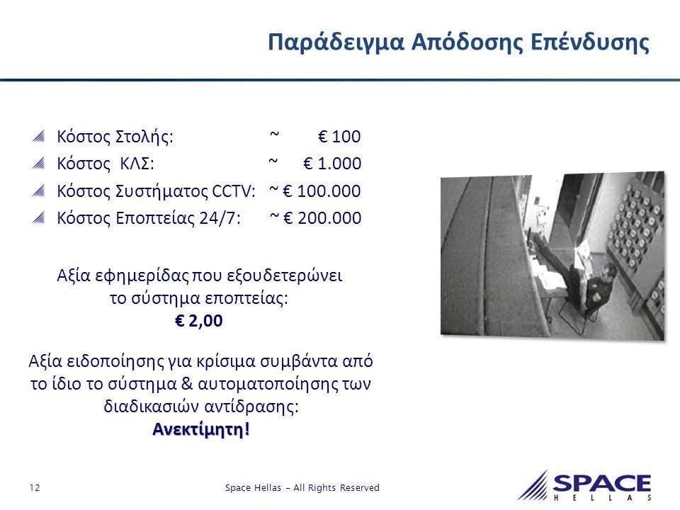 12 Space Hellas - All Rights Reserved Παράδειγμα Απόδοσης Επένδυσης Κόστος Στολής: ~ € 100 Κόστος ΚΛΣ: ~ € 1.000 Κόστος Συστήματος CCTV: ~ € 100.000 Κ