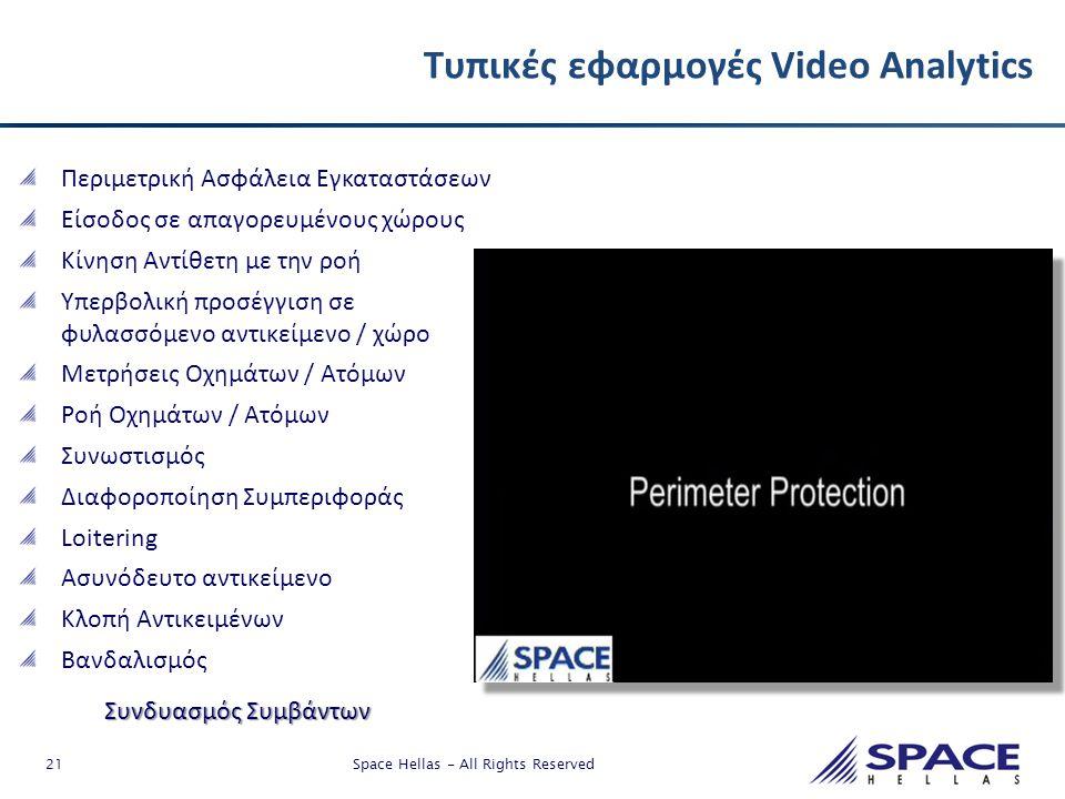 21 Space Hellas - All Rights Reserved Τυπικές εφαρμογές Video Analytics Περιμετρική Ασφάλεια Εγκαταστάσεων Είσοδος σε απαγορευμένους χώρους Κίνηση Αντ